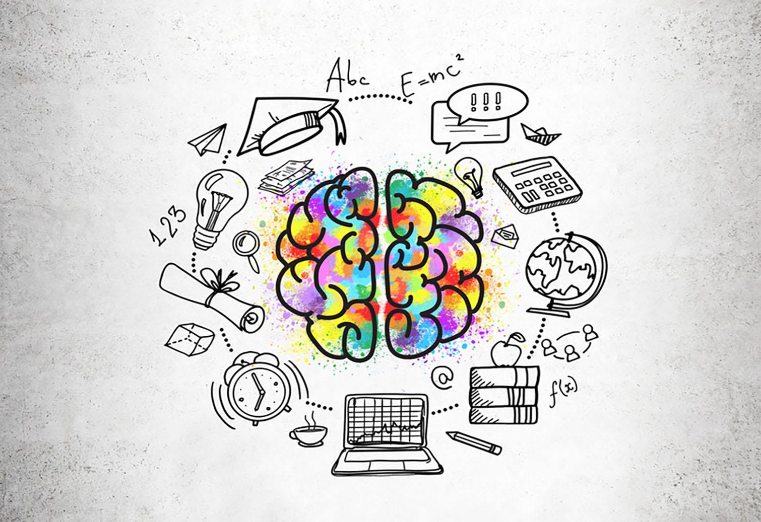 Gehirn mit verschiedenen Gegenständen außenrum